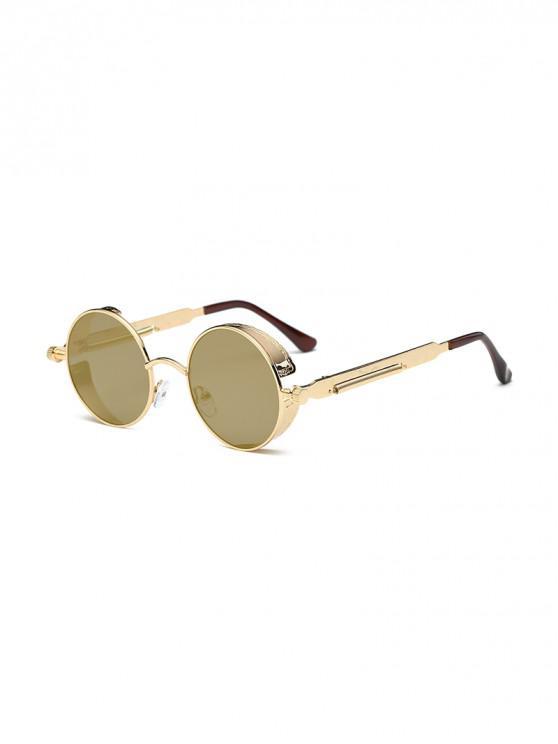 unique Retro Round Metal Frame Sunglasses - CHAMPAGNE GOLD