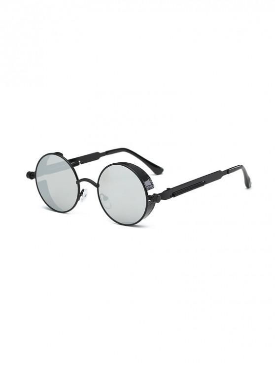 แว่นกันแดดกรอบโลหะทรงกลมย้อนยุค - แพลทินัม