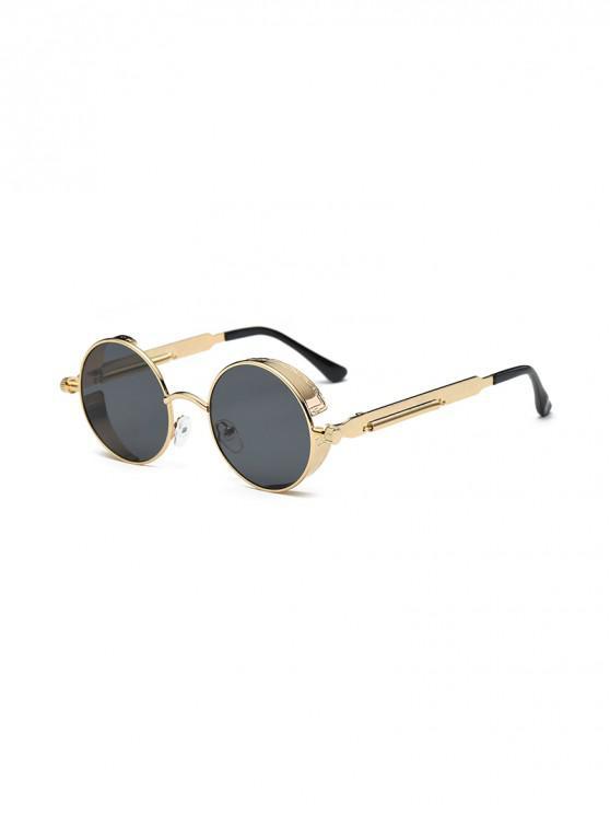outfit Retro Round Metal Frame Sunglasses - BLACK