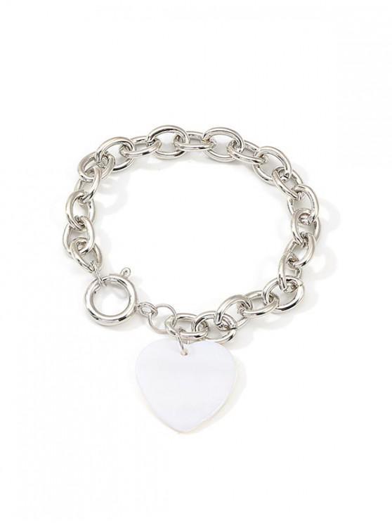 Bracciale a catena semplice con cuore in acrilico - Argento