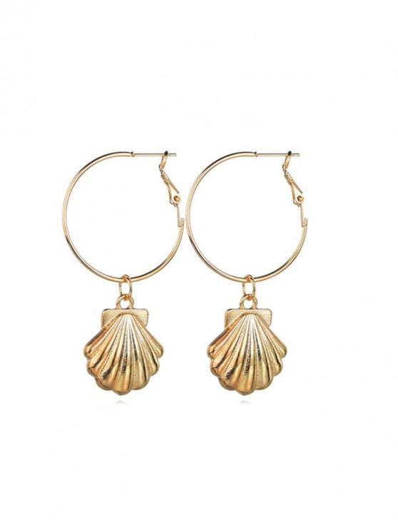 sale Scallop Pendant Hoop Earrings - GOLD