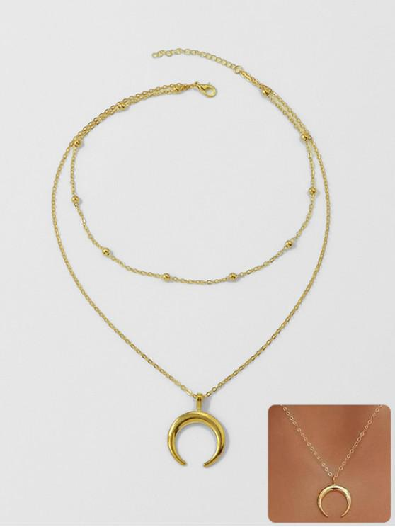 women Beach Crescent Moon Pendant Chain Necklace - GOLD