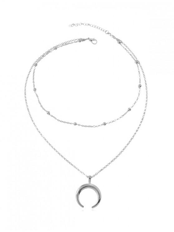 lady Beach Crescent Moon Pendant Chain Necklace - SILVER
