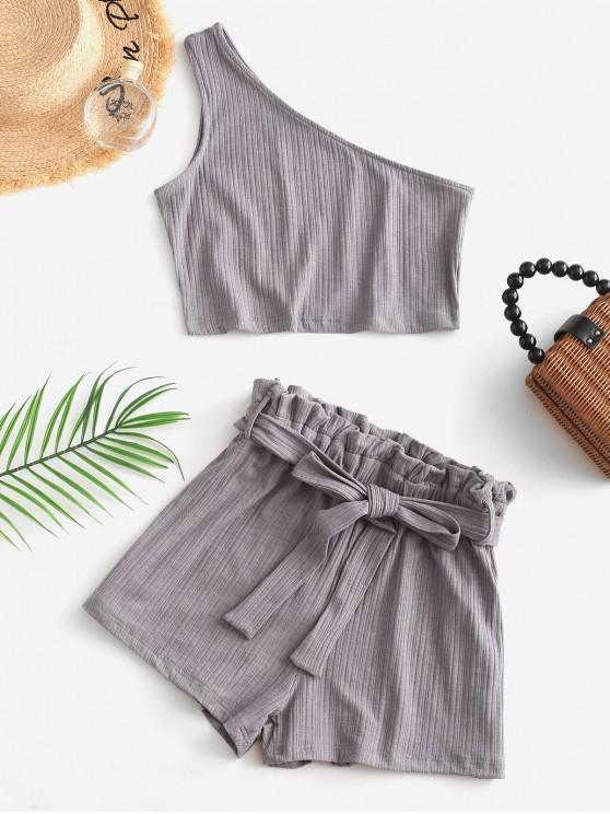 lady ZAFUL Ribbed One Shoulder Paperbag Shorts Set - GRAY M