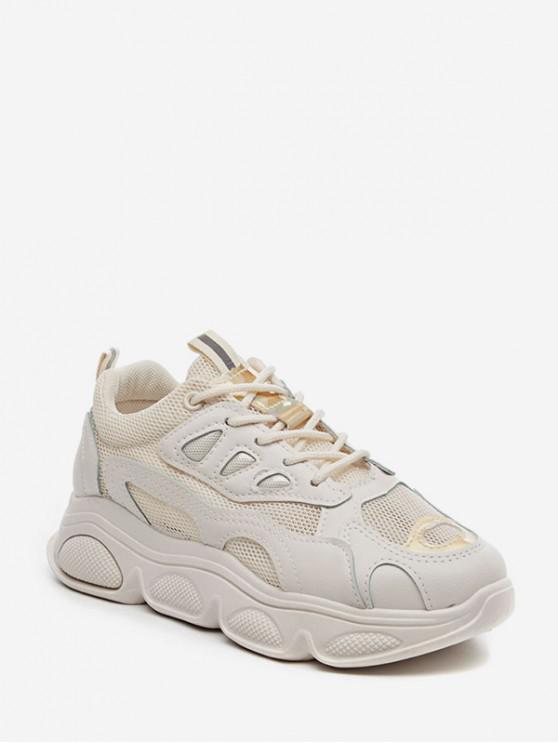 buy Laser Trim Breathable Mesh Running Sneakers - WARM WHITE EU 39