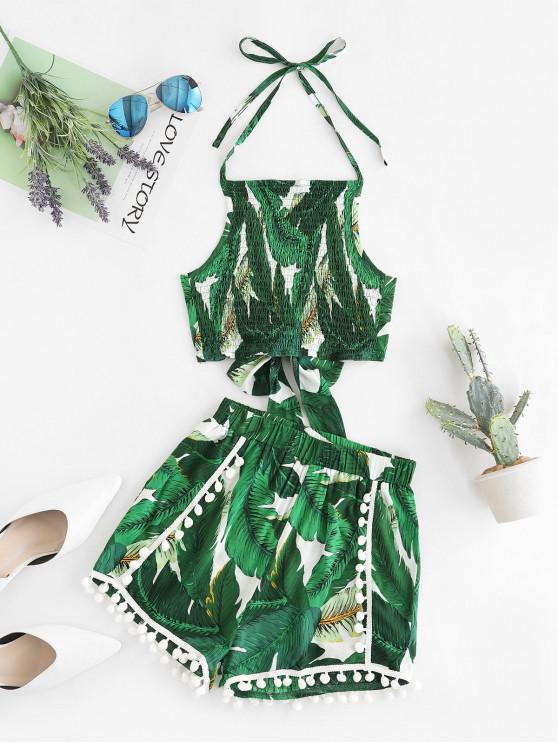 sale Pom-pom Shirred Tropical Leaf Co Ord Set - GREEN M