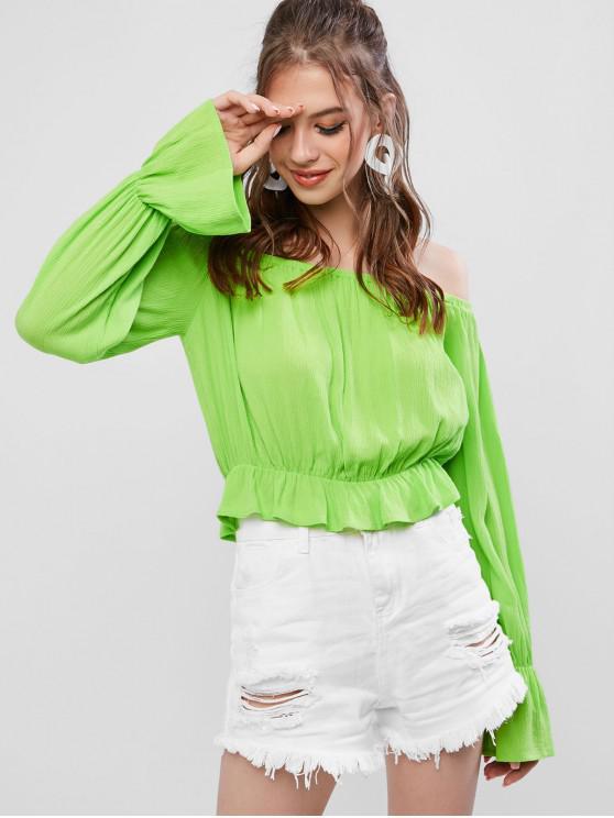 lady ZAFUL Poet Sleeve Neon Off Shoulder Ruffled Blouse - MINT GREEN XL
