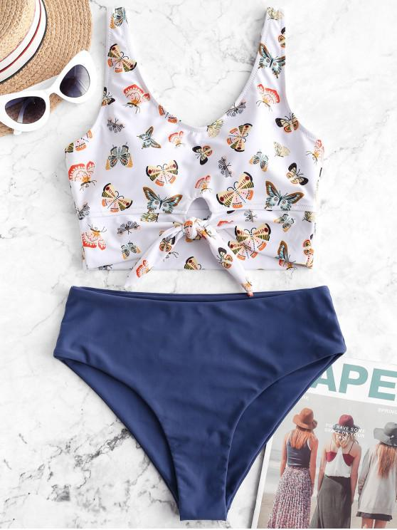 outfit ZAFUL Butterfly Print Knot Tankini Swimsuit - SILK BLUE L
