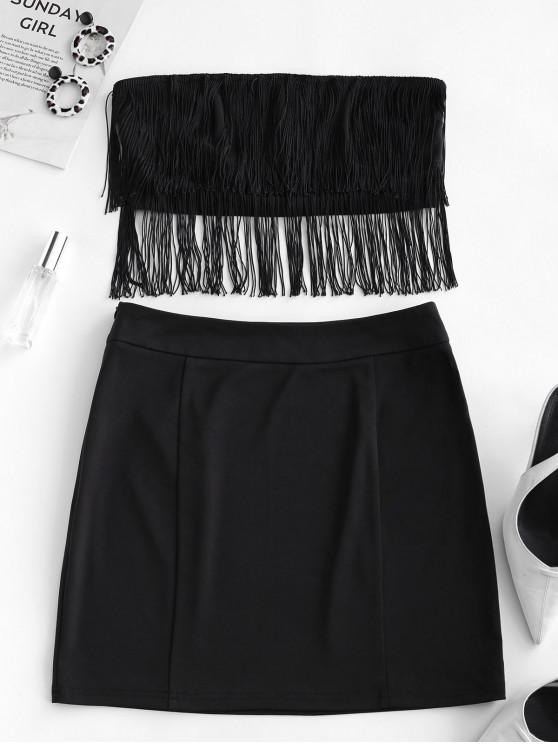 women's ZAFUL Fringed Strapless Solid Two Pieces Suit - BLACK M