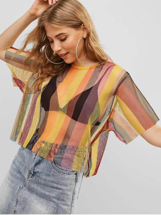 affordable ZAFUL Fishnet Keyhole Striped Color Block Tee - MULTI XL