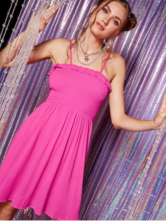 best ZAFUL Shirred Bodice Frilled Cami Dress - HOT PINK L