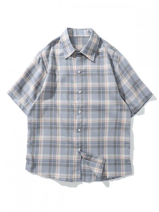 hot Side Slit Plaid Print Short Sleeve Button Casual Shirt - BLUE GRAY M