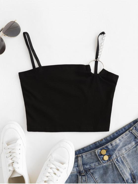 Canotta O-Ring Solid Crop Cami Top - Nero S