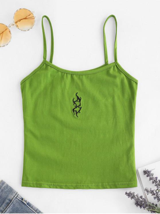 outfits Embroidered Elastic Slim Crop Cami Top - GREEN S