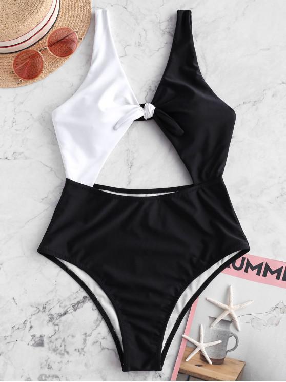 trendy ZAFUL Knot Two Tone Cutout One-piece Swimsuit - BLACK M
