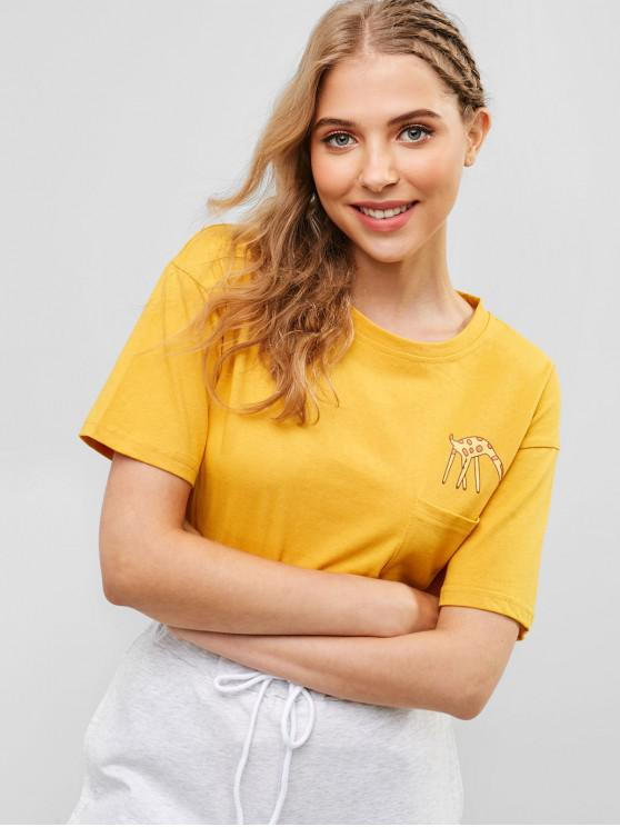 outfit Humorous Giraffe Graphic Front Pocket Basic T Shirt - YELLOW L