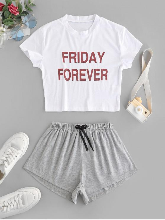 ladies Friday Forever Graphic Two Piece Set - WHITE S