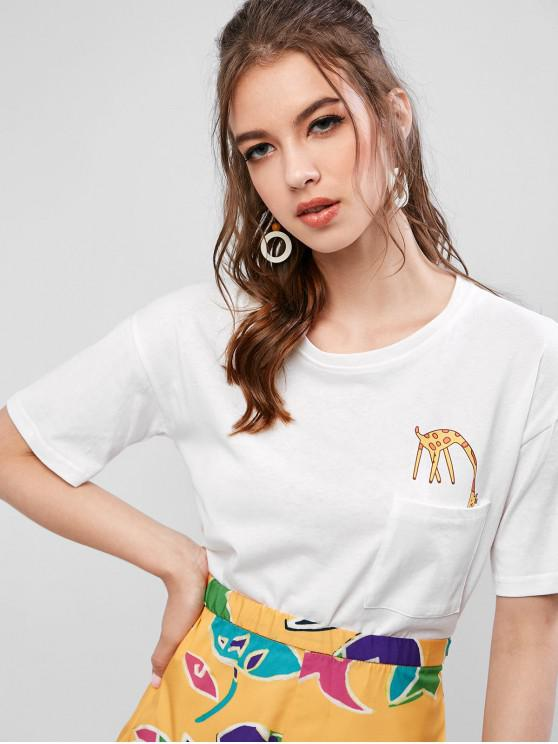 T-shirt de Base Graphique Girafe avec Poche en Avant - Blanc L