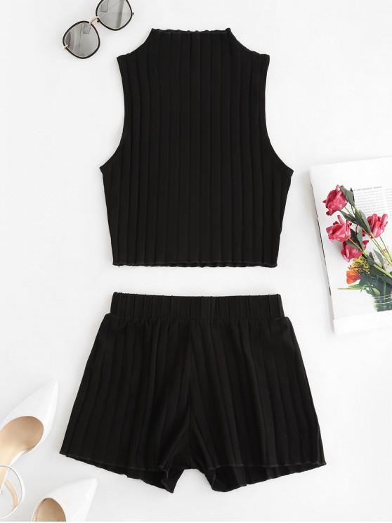 fashion Knitted Solid Slim Two Piece Shorts Set - BLACK M