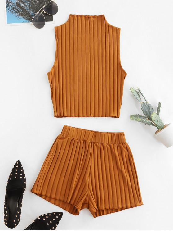 womens Knitted Solid Slim Two Piece Shorts Set - LIGHT BROWN L