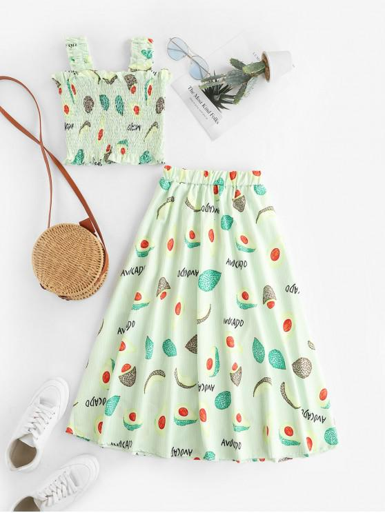 outfits Fruit Print Smocked Frilled Striped Two Piece Dress Set - GREEN ONE SIZE