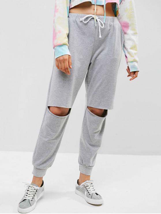 Pantalon de Jogging Découpé à Cordon - Nuage Gris S