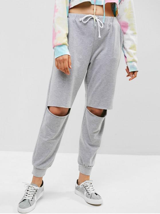 women Drawstring Cut Out Jogger Pants - GRAY CLOUD S