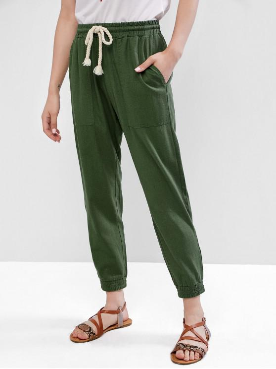 affordable High Waist Solid Jogger Pants - GREEN M