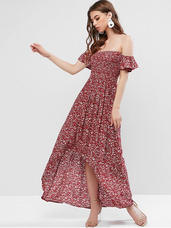 outfits Off Shoulder Tiny Floral High Low Dress - RED WINE S