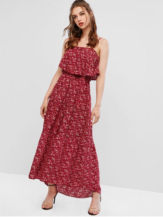 Abito con camice di alta qualità a sovrapposizione floreale - Vino Rosso S