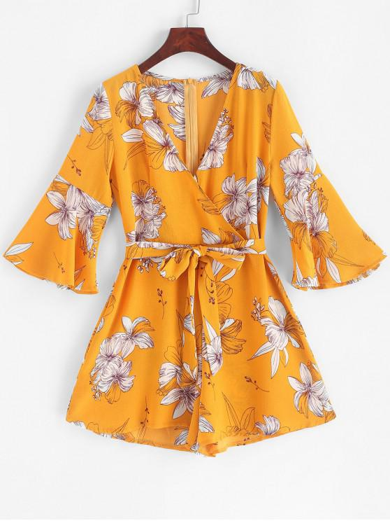 shops Belted Floral Surplice Flare Sleeve Romper - YELLOW XL