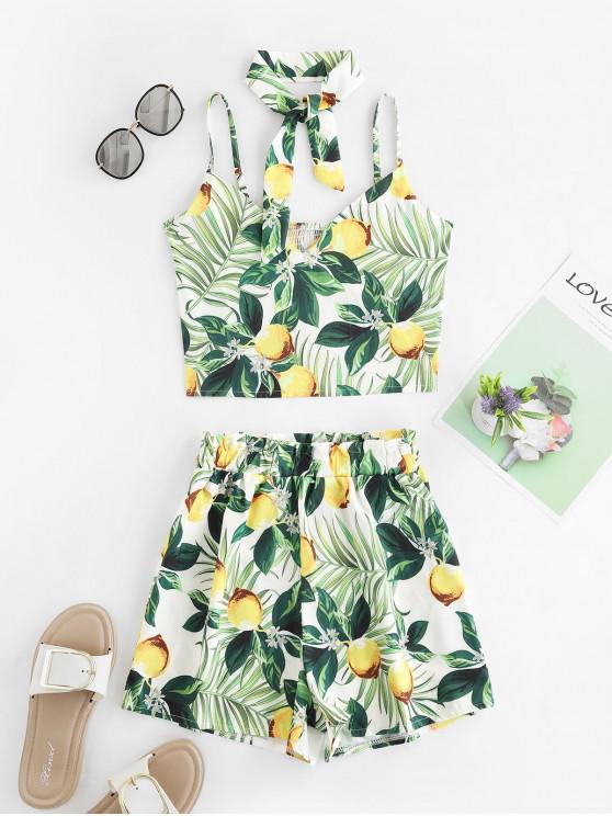 Set di foglie tropicali con stampa a foglia di limone - Multi Colori-A XL