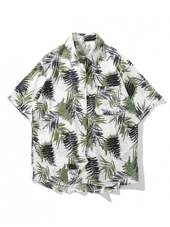 women Tropical Leaf Print Asymmetric Chest Pocket Hawaii Shirt - WHITE XL