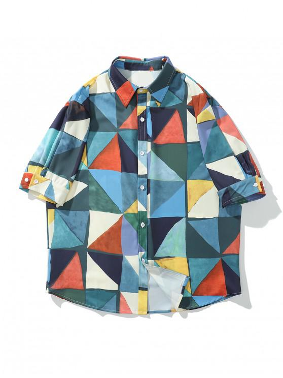 sale Color Block Geometric Print Curved Hem Button Shirt - MULTI L