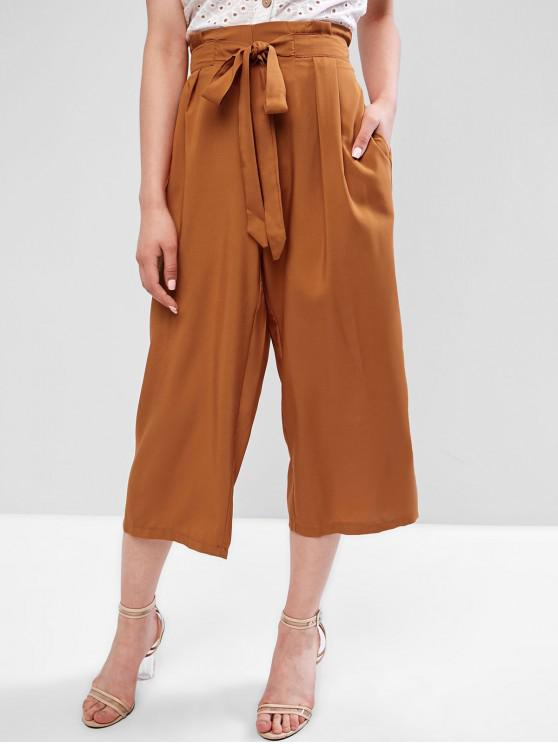 shop Tie Paperbag Gaucho Pants - TIGER ORANGE L