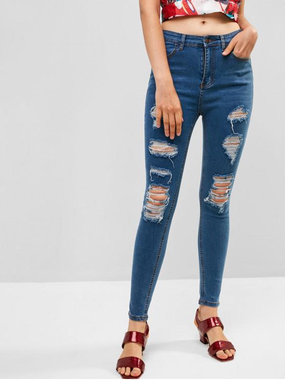 women's Ripped Zipper Fly Skinny Jeans - DENIM DARK BLUE L