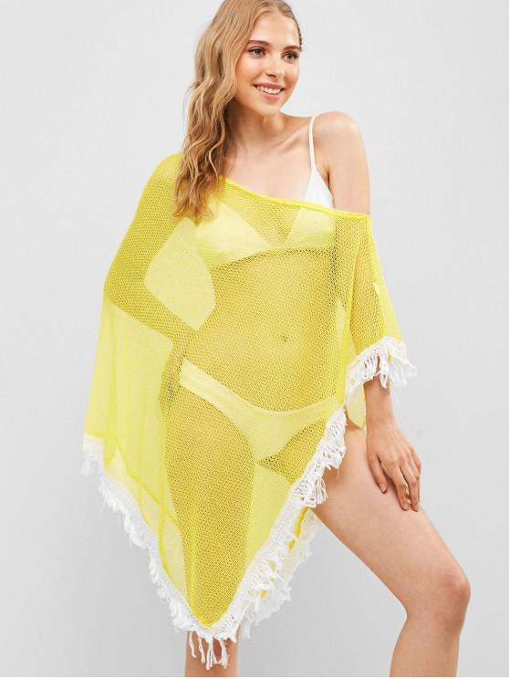 shop Contrast Trim Skew Neck Asymmetrical Cover Up - CORN YELLOW ONE SIZE