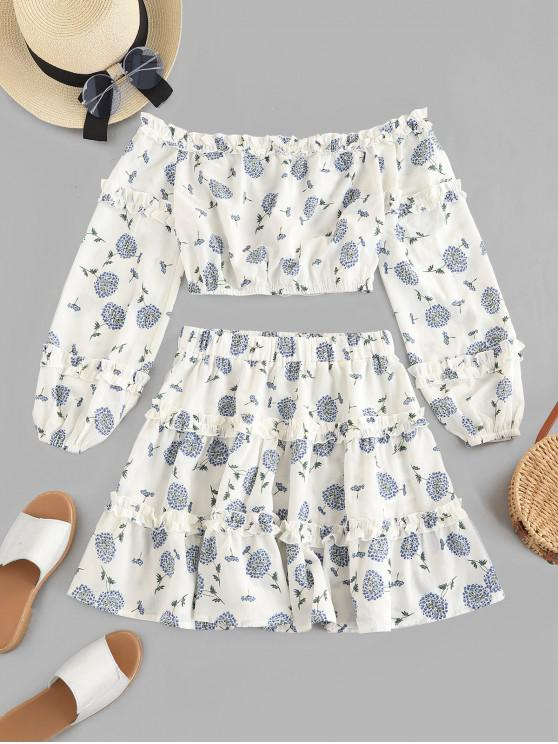 trendy ZAFUL Dandelion Print Frilled Two Piece Dress - WHITE L