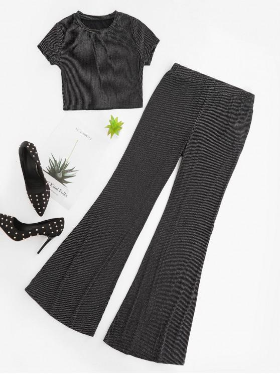ZAFUL Stripes Flare Bottom Pants Co Ord Set - Nero XL