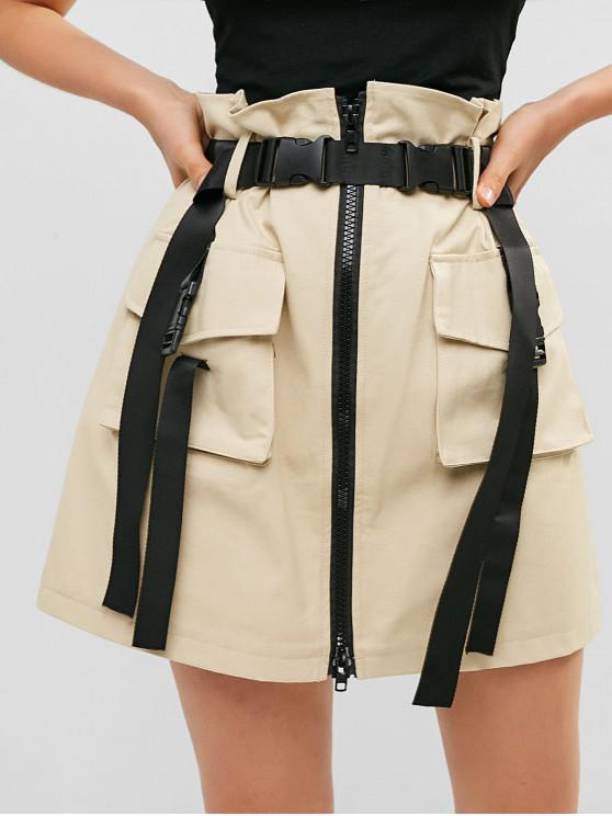 affordable Zip Front Buckled Belted Cargo Skirt - LIGHT KHAKI L
