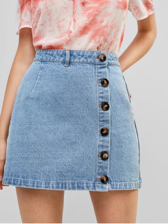 lady ZAFUL Button Fly Denim A Line Skirt - DENIM BLUE XL