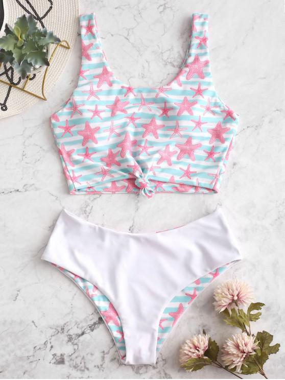 buy ZAFUL Reversible Starfish Striped Knotted Tankini Swimsuit - MULTI-A S