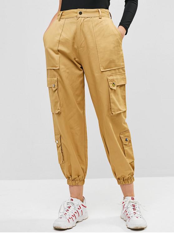 Pantalones Jogger en color liso - Tan M