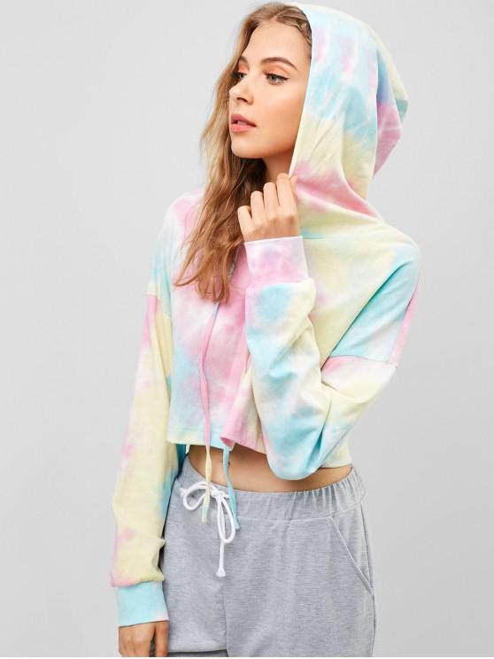ladies ZAFUL Tie Dye Crop Pullover Hoodie - MULTI L