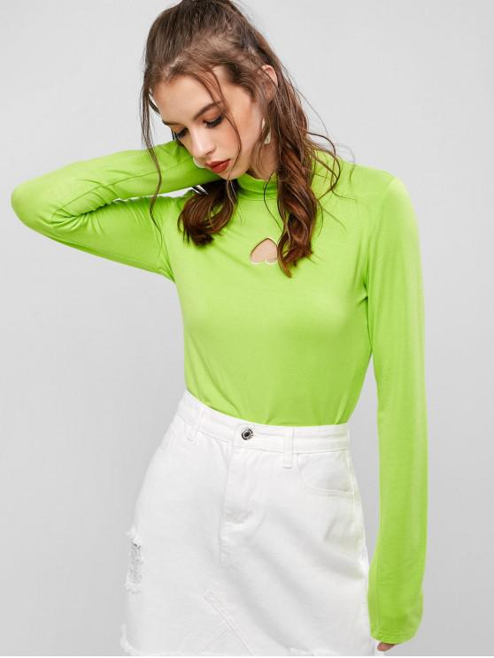 women ZAFUL Neon Heart Shape High Neck Long Sleeve Tee - EMERALD GREEN L