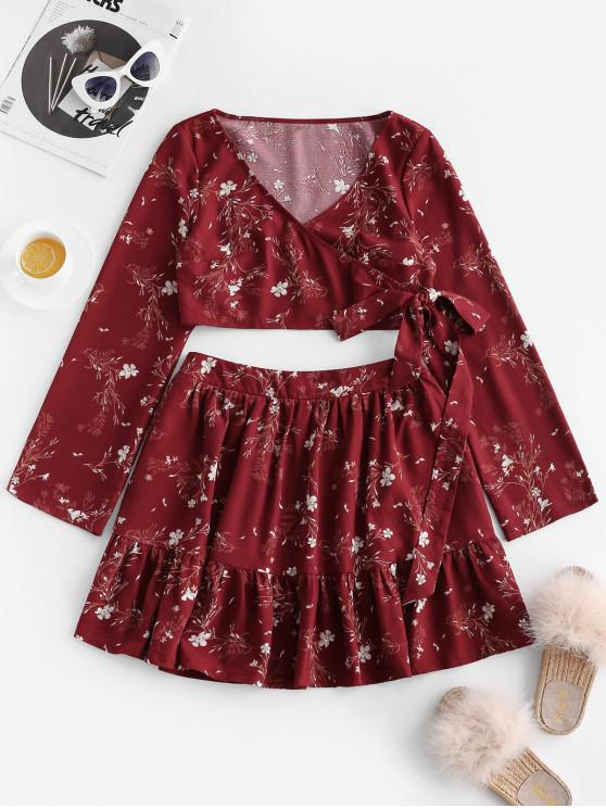 trendy ZAFUL Floral Print Tie Front Crop Skirt Set - RED WINE M