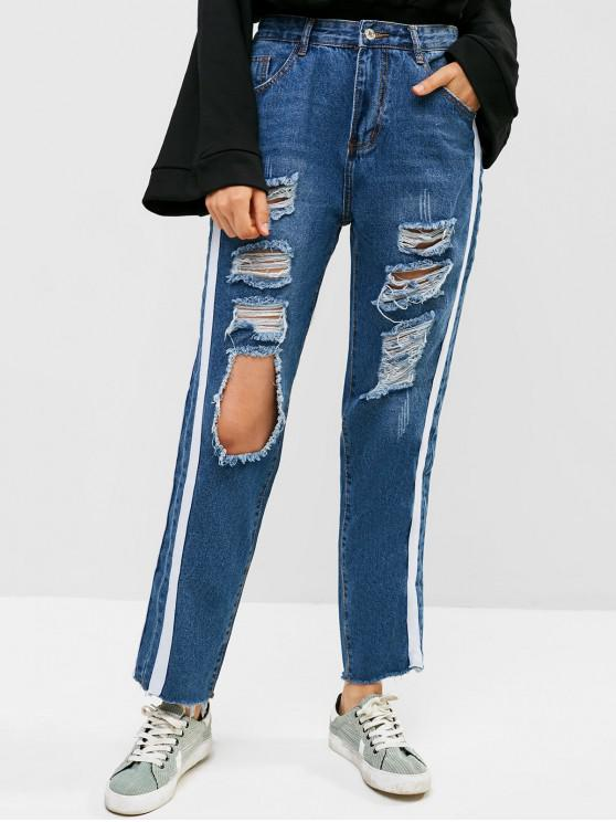 hot Ripped Cut Out Raw Hem Contrast Side Boyfriend Jeans - DENIM DARK BLUE L