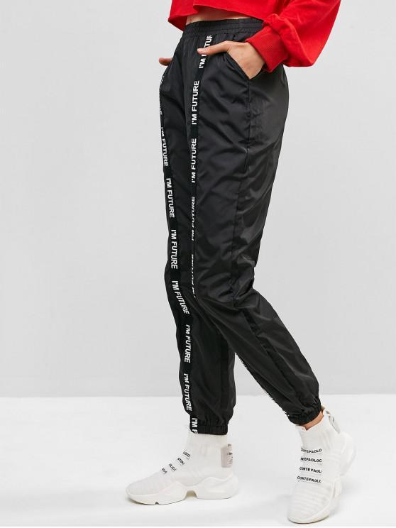 Pantalon De GraphiqueNoir M Coupe Jogging vent Slogan zSVMpGqU