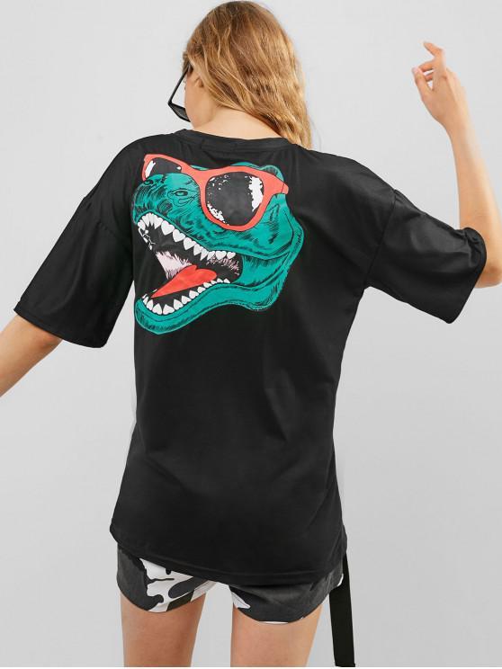 Maglietta di base grafica fantastica con dinosauro - Nero L