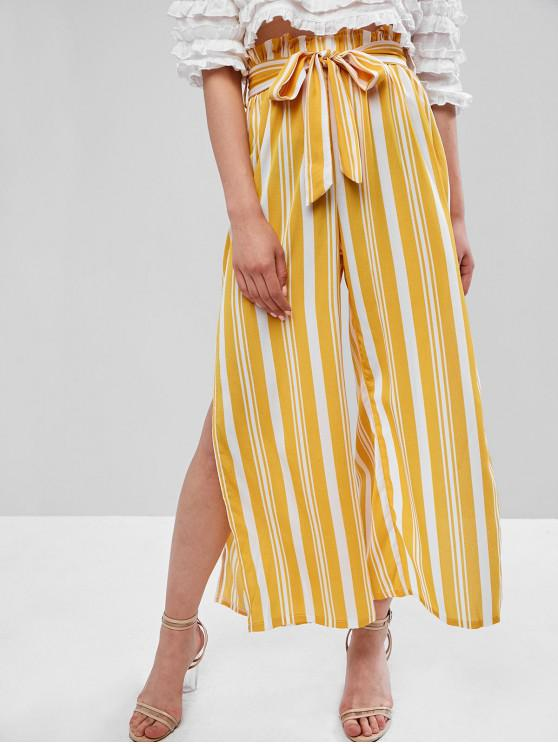 womens Striped Slits Belted Paperbag Pants - YELLOW S